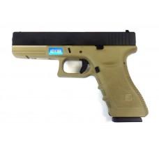 Пистолет страйкбольный WE Glock 18С TAN gen3