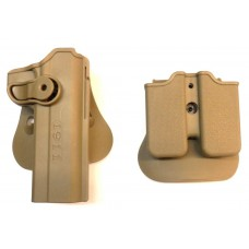 Кобура пластиковая с быстросъемным креклением и 2 мя паучерами Colt 1911 койот