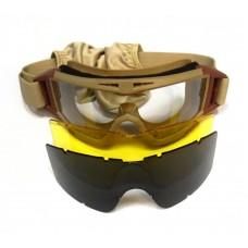 Очки защитные со сменными линзами Daisy TD-RK2 закрытые Тан