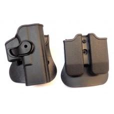 Кобура пластиковая с быстросъемным креклением и 2 мя паучерами Glock